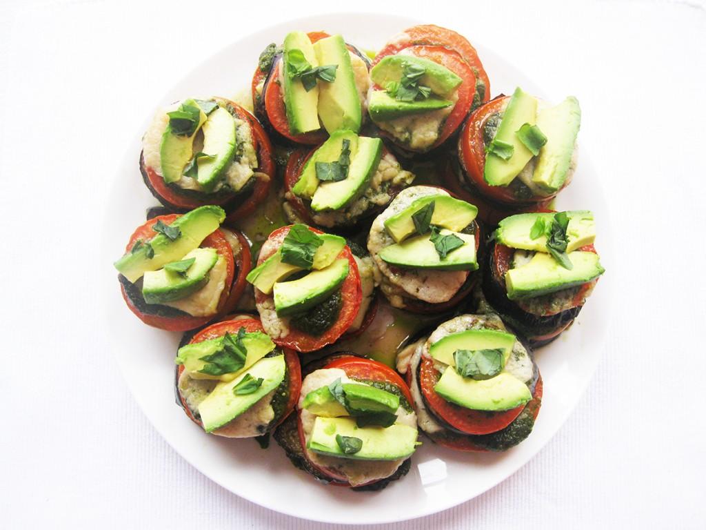 Gluten-Free & Dairy-Free Aubergine, Avocado & Tomato Stacks