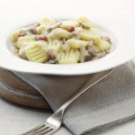 Gluten-Free & Dairy-Free Gnocchi with Mushroom and Pancetta Sauce