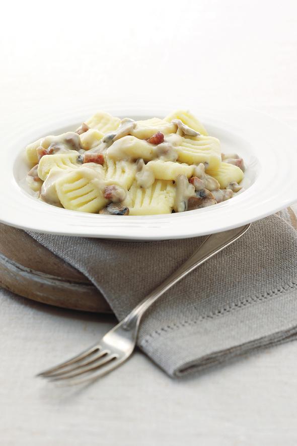 Gluten-Free & Dairy-Free Gnocchi with Mushroom and Pancetta Sauce